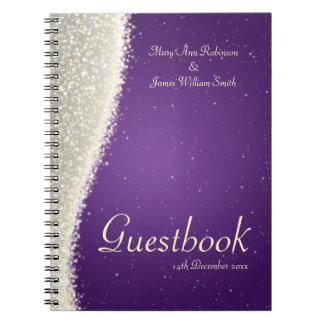 Wedding Guestbook Dazzling Sparkles Purple Notebook