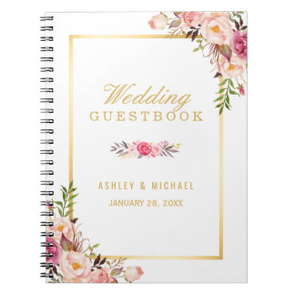 Wedding Guestbook - Elegant Chic Gold Pink Floral Notebook