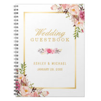 Wedding Guestbook - Elegant Chic Gold Pink Floral Spiral Notebook