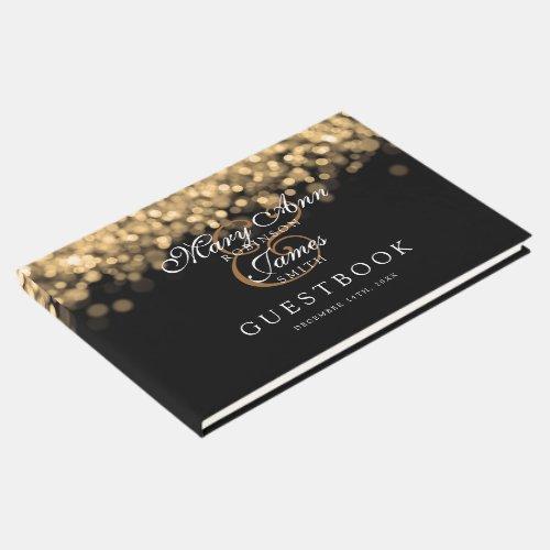 Wedding Guestbook Elegant Gold Lights