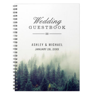 Wedding Guestbook - Elegant Pine Tree Forest Notebook
