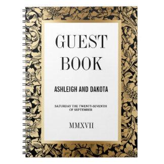 Wedding Guestbook | Golden Floral Damask on Black Notebook