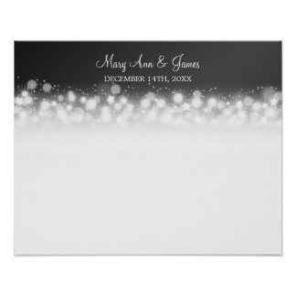 Wedding Guestbook  Magic Sparkle Black Posters