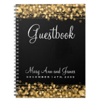Wedding Guestbook Party Sparkles Gold Notebook