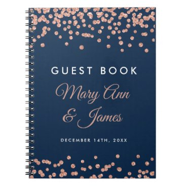 Wedding Themed Wedding Guestbook Rose Gold Glitter Confetti Navy Notebook