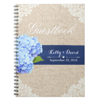 Wedding Guestbook | Rustic Hydrangea Lace & Burlap Notebook