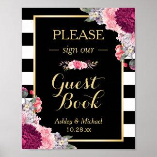 Wedding Guestbook Sign Burgundy Floral Stripes Poster