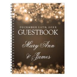 Wedding Guestbook Sparkling Lights Gold Notebook