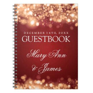 Wedding Guestbook Sparkling Lights Gold Spiral Notebook