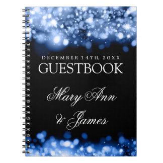 Wedding Guestbook Sparkling Lights Sapphire Blue Notebook