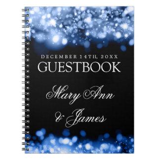 Wedding Guestbook Sparkling Lights Sapphire Blue Notebook