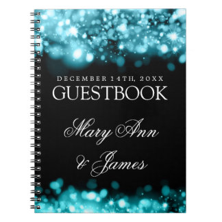 Wedding Guestbook Sparkling Lights Turquoise Notebook