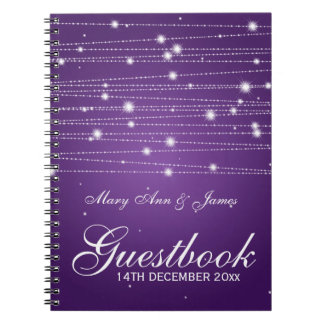 Wedding Guestbook Sparkling Lines Purple Notebook