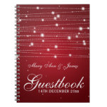 Wedding Guestbook Sparkling Lines Red Spiral Notebooks