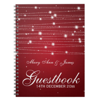 Wedding Guestbook Sparkling Lines Red Spiral Notebook