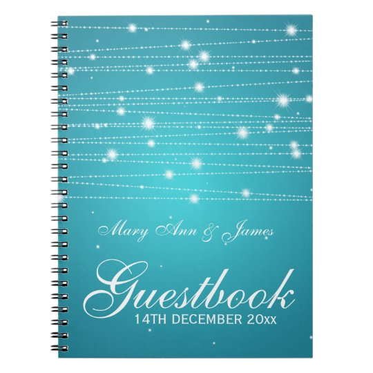 Wedding Guestbook Sparkling Lines Turquoise Notebook