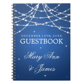 Wedding Guestbook Sparkling String Blue Notebook