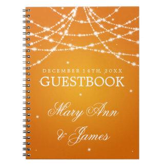 Wedding Guestbook Sparkling String Orange Notebook
