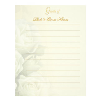 Wedding Guestbook Stationery - White Roses