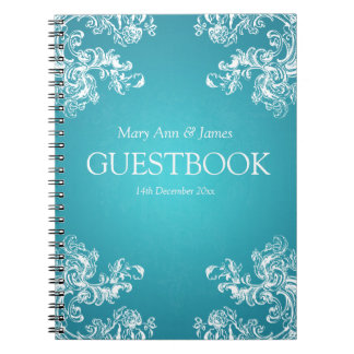 Wedding Guestbook Vintage Swirls 2 Turquoise Note Book