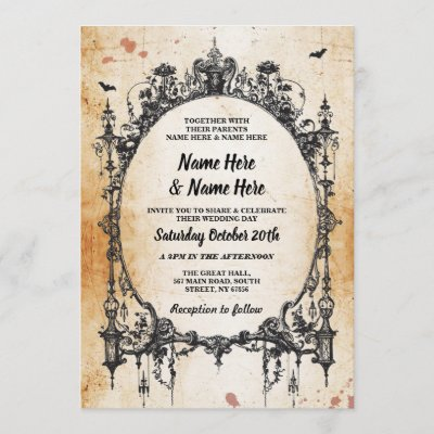 Wedding Halloween Gothic Frame Vintage Invite