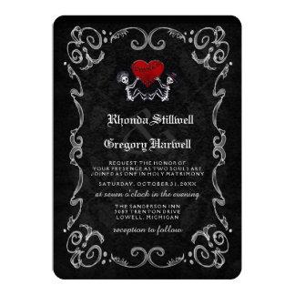 Wedding Halloween Skeletons & Heart Invitation