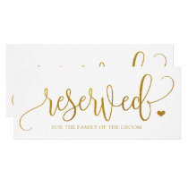 Wedding Hanging Reserved Sign - Faux Gold Foil Invitation