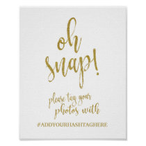 Wedding Hashtag Gold Glitter 8x10 Wedding Sign