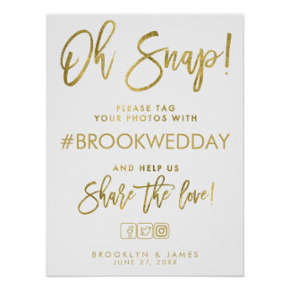 Wedding Hashtag Sign Gold And White