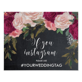 wedding hashtag sign instagram sign