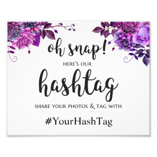 Wedding hashtag sign. Purple instagram poster