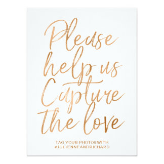Wedding Hashtag Sign | Stylish Gold Rose Lettered Card