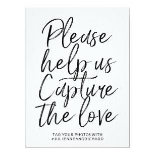 Wedding Hashtag Sign | Stylish Hand Lettered Invitation