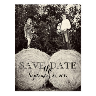 Wedding Hay Bales Photo SAVE THE DATE Postcard