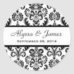 Wedding Heart Damask Black and White A02 Classic Round Sticker