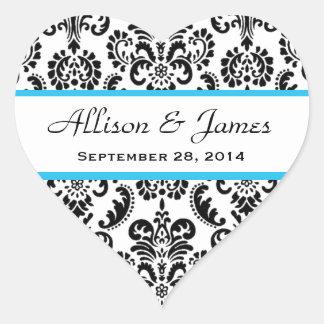 Wedding Heart Damask Black and White Blue A05 Heart Sticker