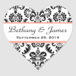 Wedding Heart Damask Black and White Coral A08 Heart Stickers