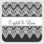 Wedding Heart Damask Black and White Envelope Square Stickers