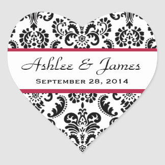 Wedding Heart Damask Black and White Red A04 Heart Sticker