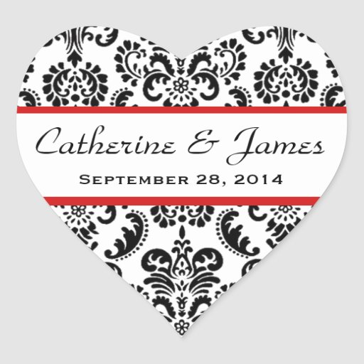 Wedding Heart Damask Black and White Red A10 Stickers
