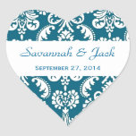 Wedding Heart Damask Blue and White Heart Stickers