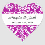 Wedding Heart Damask Magenta Stickers