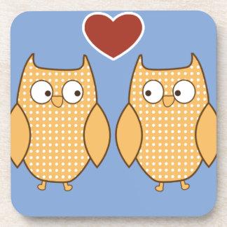 wedding heart love birds bird owls marriage drink coasters