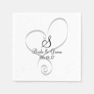 Wedding Heart Monogram Date Names Bride Groom Napkin
