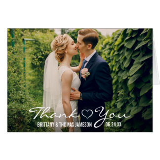 Wedding Heart Thank You Photo Fold Card W
