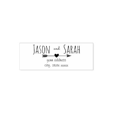 Valentines Themed wedding heart with arrow bride and groom self-inking stamp