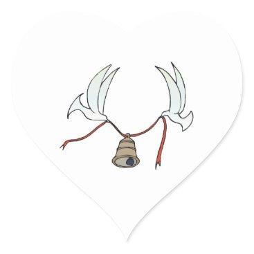 Bride Themed Wedding Hearts Doves Carry Wedding Bell Weddings Heart Sticker