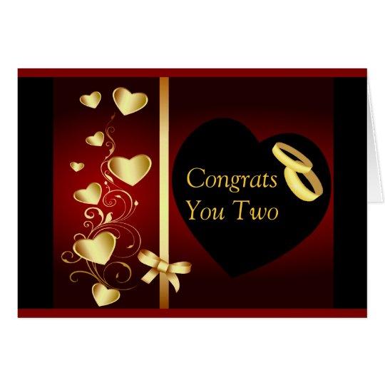 Wedding Hearts Golden Rings Congrats Card