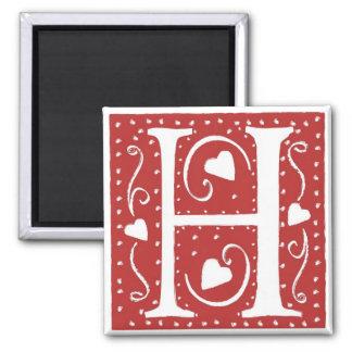 Wedding Hearts Letter H Magnet
