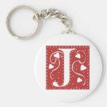 Wedding Hearts Letter J Basic Round Button Keychain